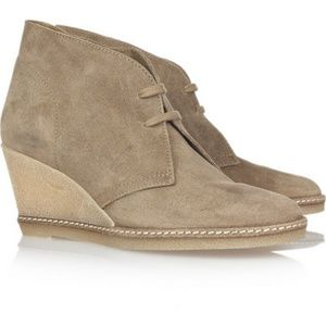 J. Crew suede wedge lace up ankle boot